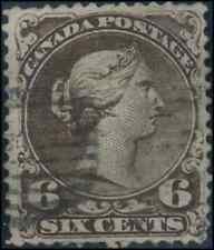 Canada #27 used F-VF 1868 Queen Queen Victoria 6c dark brown Large Queen