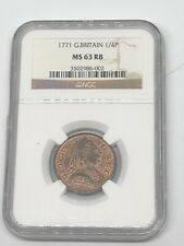 1771 Great Britain 🇬🇧 1/4 P NGC MS 63 RB Red Brown Copper World 🌍 Coin RARE!