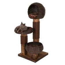 Scorched Wood Cat Tree Brown SISAL COVERED Scratching Post Pet Toy Play Activity