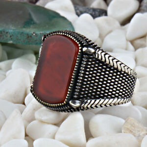 Handmade pure 925 SILVER red Agate RINGS Box for Men all sizes available RRP£40