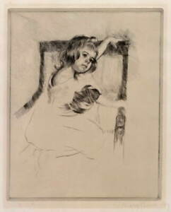 Mary Cassatt Kneeling in an Armchair Poster Reproduction Giclee Canvas Print