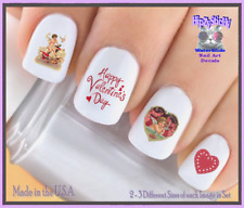 24 Nail Decals #7601 VALENTINES Victorian Cupid 1 Love WaterSlide Nail Transfers