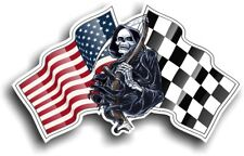 Grim REAPER Muerte Diseño con USA American Flag Motif Vinilo Pegatina de Coche 130x80mm