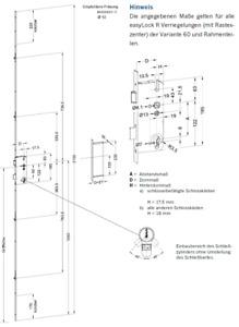 Winkhaus Mehrfachverriegelung T-F1660 92 R4 MC 16 mm Flachstulp mit 4 Rollzapfen