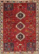 Excellent Geometric Tribal Abadeh Area Rug Wool Hand-made Red Living Room 6'x9'