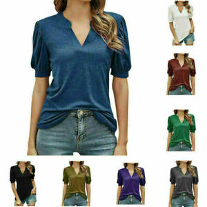 Women V-Neck Summer Ladies Short Sleeve Blouse Casual T-shirt Tops Tee Plus Size