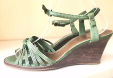 CLARKS Jungle Green Ladies Strappy Leather Sandals Wedge Heel 39 6