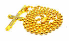 Men Womens Beads Chain Cross Clear Crystal Blings Pendant Gold Plated Necklace