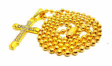 Military Clasps Gold Plated Iced Out Cross Long Bead Chain Necklace Men Women