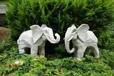 Elefanten Steinfiguren 2er SET Tierfiguren Gartenfiguren Steinkunst BLACKFORM