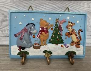 Disney Winnie The Pooh Ceramic Wall Hanging Key Holder Christmas Plaque Picture