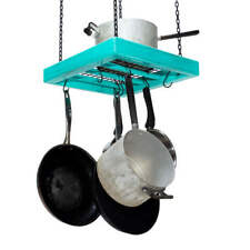 Hanging Pot Rack - Wooden - Ceiling Mounted - Square - Small - Steel Grid