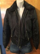 NWT - Womens Charlotte Russe, Black Bomber Jacket, Faux Fur, Lined, Small