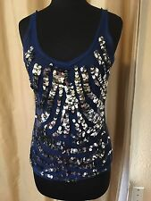 GIANFRANCO FERRE Blue Top W Silver Sequins SZ: Small