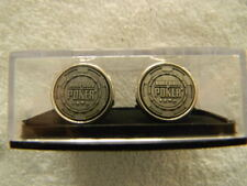 WSOP World Series Of Poker cufflinks- silver colored metal, WSOP chip design-NEW
