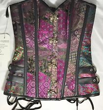 Charmain Steampunk Gothic Brocade Steel Boned Bustier Corset with Panty Medium