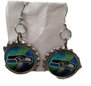 NFL Football SEATTLE SEAHAWKS botlecap Dangle PIERCED EARRINGS