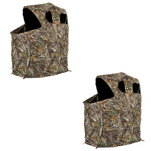 Ameristep 1 Person Deluxe Folding Hunting Camouflage Tent Chair Blind (2 Pack)
