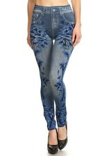 Leggings S-L (2-10) Faux Denim Blue Vines ALWAYS Polyester Spandex Viscose NEW