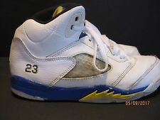 a981206f83196e New ListingNike Air Jordan 5 Retro Boys Youth Sz 3Y White Blue yellow  Basketball Shoes j132