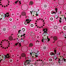 BonEful Fabric FQ Cotton Quilt Pink B&W Flower Miss Minnie Mouse Disney Girl Dot