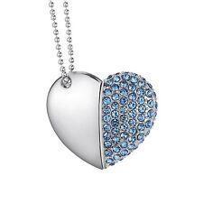 Pendrive Collar Corazón Diamond alta velocidad Memoria USB 2.0 Flash 32 GB Azul