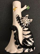 Vintage Sigma Tastesetter Kliban Black/White Cat ClimbingTree Candle Holder Mint