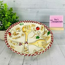"Tabletops Pasta 101 Stoneware Checked Border Vegetables Large 13"" Serving Bowl"