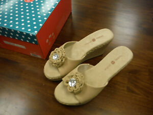 New Lindsay Phillips DEVON Wedge Sandals Size 7 NEUTRAL