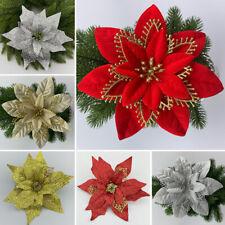 1X Christmas Party Poinsettia Glitter Flower Gold Bow Decor Xmas Tree Xmas 20cm