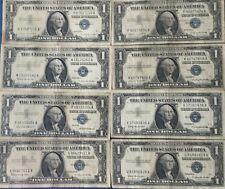 1957 $1 One Dollar Bill Silver Certificate Blue Seal Old Currency Lot of 8 A-H