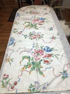 Vintage Chintz Fabric Print Floral on White