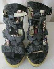 💗Ed Hardy Black Wedge Sandals Shoes Size 7 Skull