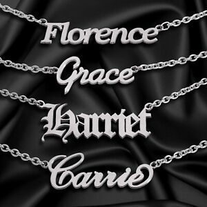 Personalise ANY FONT Nameplate Stainless Steel Chain Gift UK CHOOSE ANY NAME