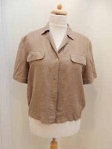 L'ULTIMA LINEA SILK BROWN SHORT SLEEVED BLOUSE – SIZE 10