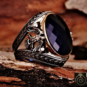 Mens Ring Double Head Albanian Eagle Sapphire Masonic Signet Scottish Rite Rings