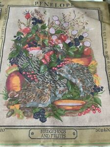 """Penelope tapestry canvas 'Hedgehogs and Fruits' 15.5"""" x 19.5"""""""