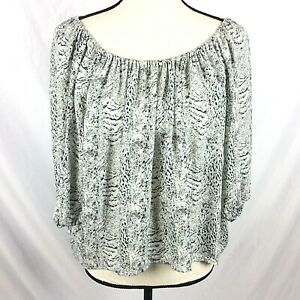 Joie Silk Blouse Womens Small Newbury Peasant Oversized Cropped Animal Print Top