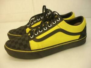 Men's sz 9.5 Vans Customs Old Skool Checkerboard Black Yellow Shoes Off The Wall