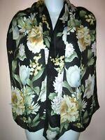 "ANN TAYLOR SILK SHEER Scarf Shawl Chiffon Floral Black Pink Gold Green 56 x 16"""