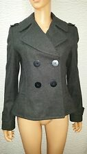 Women's NWT Kenneth Cole New York Charcoal Gray Wool Peacoat Coat Melton Size 6