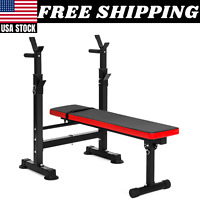 BENCH PRESS ADJUSTABLE WEIGHT Barbell Rack Exercise Strength Training Workout