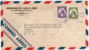 1958 Guatemala Airmail Cover to Oil Company in Texas - Quetzal Stamps