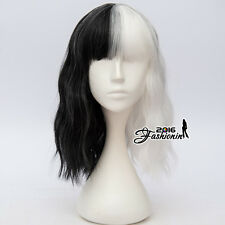 Harajuku Punk Black & White Bang Curly Ombre 40CM Lolita Party Cosplay Wig+Cap