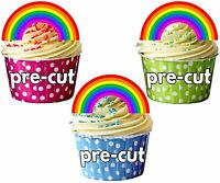 PRECUT Rainbows Edible Cupcake Toppers Cake Decorations Birthday Events Party