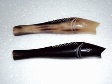 Lot of 2 Tobacco pipe by horn of buffalo -Couple of Fish - Handmade Pipe by horn