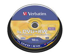 10 DVD+RW VERBATIM 4X CAKE 10 PZ DVD +RW 43488 REWRITABLE RESCRIVIBILI