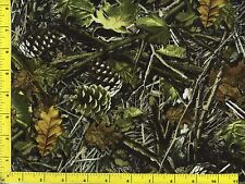 Woodland Camo  Fallen Leaves Pine Cones Twigs  Quilting Fabric by Yard  #168