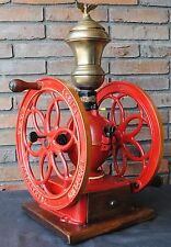 ANTIQUE VINTAGE CAST IRON COFFEE GRINDER BRASS HOPPER BASQUE or SPANISH