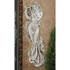 """Bas-Relief Wall Décor Musical Muse 30"""" H x 14"""" W Antique Srone Finish"""
